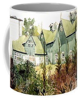 Watercolor Of An Old Wooden Barn Painted Green With Silo In The Sun Coffee Mug