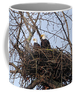 Coffee Mug featuring the photograph A Pair Of Eagles In A Nest by Karen Molenaar Terrell