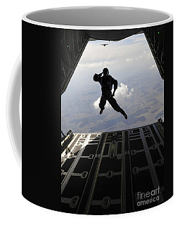 A Paratrooper Salutes As He Jumps Coffee Mug