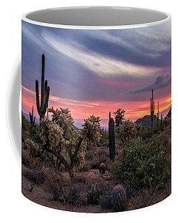 Coffee Mug featuring the photograph A Pink Kissed Desert Sunset  by Saija Lehtonen