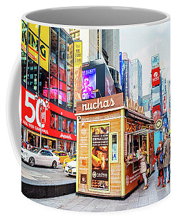 A Portable Food Stand In New York Times Square Coffee Mug