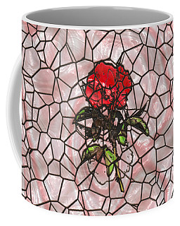 A Rose On Stained Glass Coffee Mug by John M Bailey