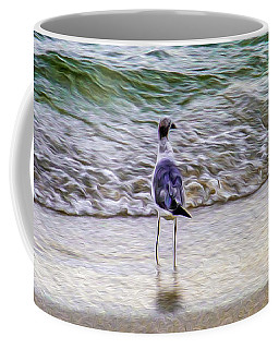 A Seagull Looking Out To Sea Coffee Mug
