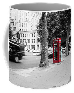 A Single Red Telephone Box On The Street Bw Coffee Mug