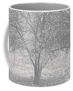 A Single Tree In Autumn In Grey And White Coffee Mug