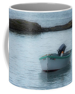 Coffee Mug featuring the photograph A Small Boat In Casco Bay by Guy Whiteley