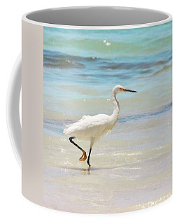A Snowy Egret (egretta Thula) At Mahoe Coffee Mug by John Edwards