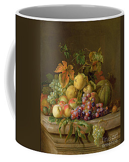 A Still Life Of Melons Grapes And Peaches On A Ledge Coffee Mug