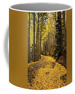 A Stroll Among The Golden Aspens  Coffee Mug