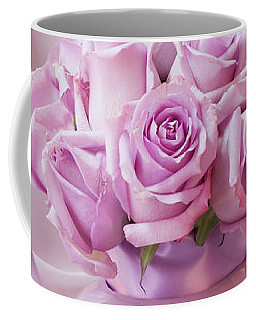A Tea Pot Of Lavender Pink Roses  Coffee Mug