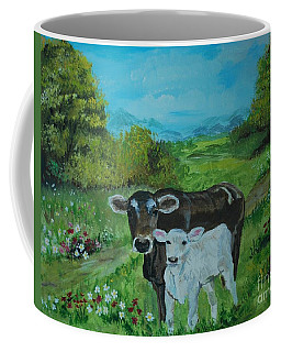 Coffee Mug featuring the painting A Tender Love by Leslie Allen