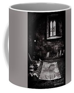 Coffee Mug featuring the photograph A Tombstone In Sligo Abbey Bw by RicardMN Photography