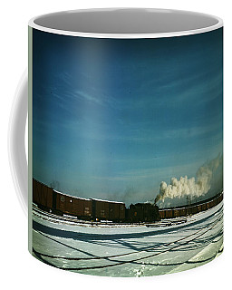 Coffee Mug featuring the painting A Train Pulling Out Of The Freight House by Artistic Panda