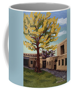 Coffee Mug featuring the painting A Tree Grows In The Courtyard, Palace Of The Governors, Santa Fe, Nm by Erin Fickert-Rowland