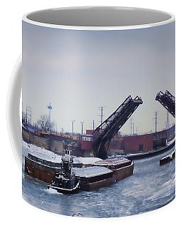 A Tug Boat Pushing A Barge Out To The Lake Coffee Mug