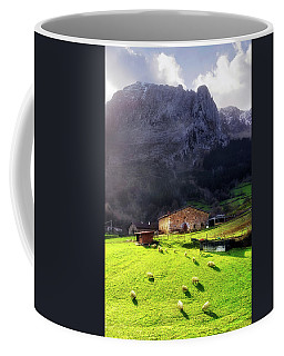 A Typical Basque Country Farmhouse With Sheep Coffee Mug