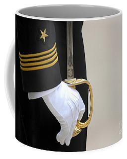 Coffee Mug featuring the photograph A U.s. Naval Academy Midshipman Stands by Stocktrek Images