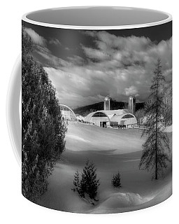 A Vermont Farm In Winter - Black And White Coffee Mug