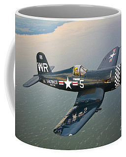 A Vought F4u-5 Corsair In Flight Coffee Mug
