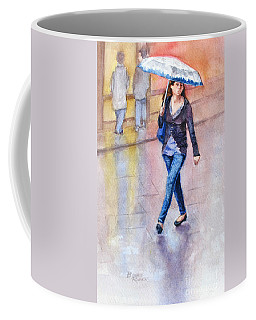 Coffee Mug featuring the painting A Walk In The Rain by Bonnie Rinier