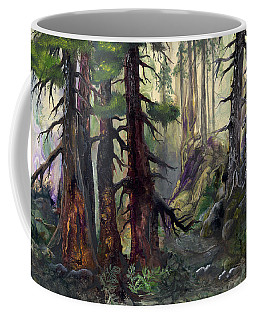 Coffee Mug featuring the painting A Walk In The Woods by Sherry Shipley