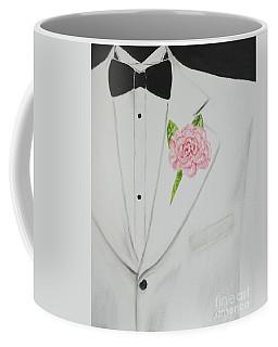 A White Sport Coat And A Pink Carnation Coffee Mug