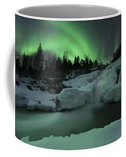 A Wintery Waterfall And Aurora Borealis Coffee Mug