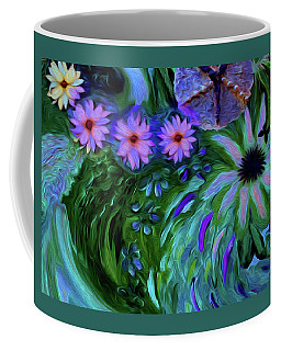 A Womans Touch With Her Flowers Coffee Mug
