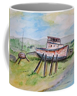 Coffee Mug featuring the painting Abandoned Fishing Boat by Clyde J Kell