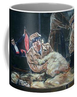 Coffee Mug featuring the painting Abbott And Costello Meet Frankenstein by Bryan Bustard