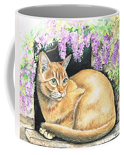 Coffee Mug featuring the painting Abbyssinian With Wisteria. by Val Stokes