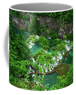 Above The Paths And Waterfalls At Plitvice Lakes National Park, Croatia Coffee Mug