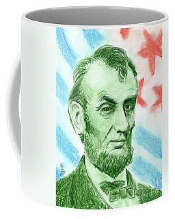 Coffee Mug featuring the drawing Abraham Lincoln  by Yoshiko Mishina