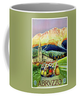 Coffee Mug featuring the mixed media Abruzzo Vintage Travel Poster Restored by Carsten Reisinger