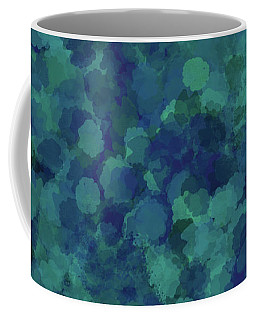 Coffee Mug featuring the mixed media Abstract Blues 1 by Clare Bambers