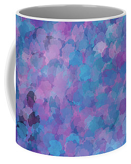 Coffee Mug featuring the mixed media Abstract Blues Pinks Purples 3 by Clare Bambers