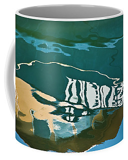 Coffee Mug featuring the photograph Abstract Boat Reflection by Dave Gordon
