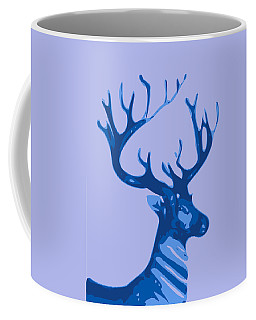 Abstract Deer Contours Blue Coffee Mug