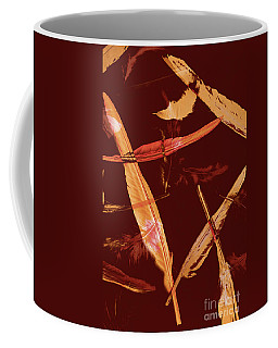 Abstract Feathers Falling On Brown Background Coffee Mug