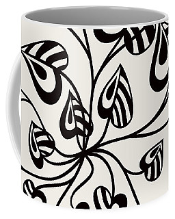 Abstract Floral With Pointy Leaves In Black And White Coffee Mug