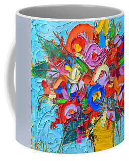 Abstract Flowers Floral Miniature Modern Impressionist Palette Knife Oil Painting Ana Maria Edulescu Coffee Mug