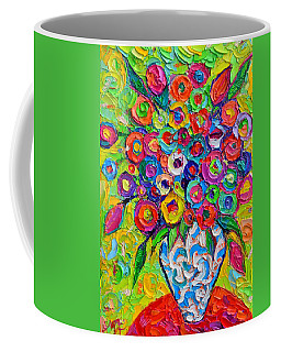 Abstract Flowers Of Happiness Impressionist Impasto Palette Knife Oil Painting By Ana Maria Edulescu Coffee Mug