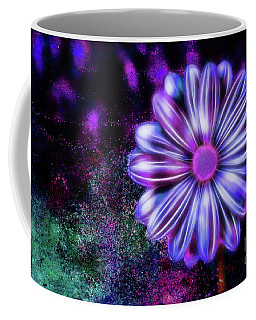 Abstract Glowing Purple And Blue Flower Coffee Mug