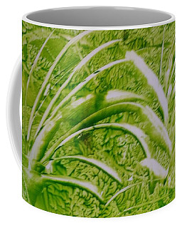 Abstract Green And White Leaves And Grass Coffee Mug