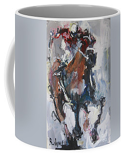 Abstract Horse Racing Painting Coffee Mug by Robert Joyner