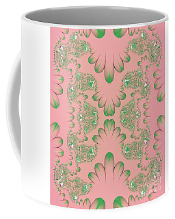 Coffee Mug featuring the digital art Abstract In Pink And Green by Linda Phelps