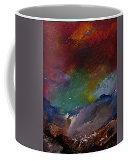 Abstract Landscape Red Bold Color Vertical Painting Coffee Mug