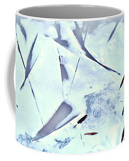 Coffee Mug featuring the photograph Abstract Leaf Patterns In Snow by Kae Cheatham