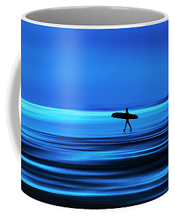 Abstract Lone Windsurfer, Widemouth, Cornwall. Coffee Mug