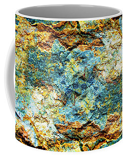Abstract Nature Tropical Beach Rock Blue Yellow And Orange Macro Photo 472 Coffee Mug